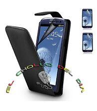 Funda Cuero Piel negra Samsung Galaxy S3 i9300 + 2 PROTECTORES DE PANTALLA