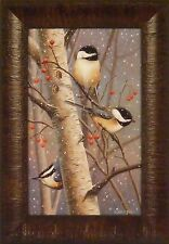WOODLAND SPRITES by Cynthie Fisher Chickadees Birds 11x15 FRAMED PRINT PICTURE