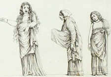 Scène Tragique Antiquité Théatre Opera Gravure originale XIXème siècle