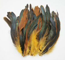 "80+ pcs(16g) 8-10"" half bronze gold yellow schlappen coque rooster tail feathers"