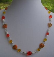Orange & Yellow Czech Glass Bead Necklace w/ Millefiori Hearts & Silver Handmade