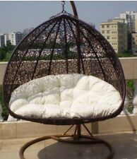 PE ratten hanging egg chair swing waterproof cush stand Sydney 2 Seater Double