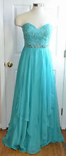 Sherri Hill Aqua Beads Sequins Prom Dress Size 16
