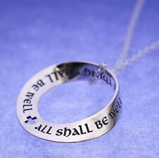 All Shall Be Well Necklace Engraved Stamped Inspirational STERLING SILVER .925