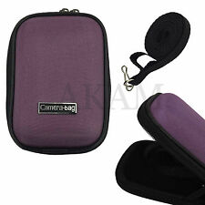 Universal Purple Nylon Hard Shell Case Zip Bag Pouch For Small Digital Camera