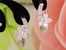 Gemma 1 Pair Silver Women Clear CZ Zircon Flower Hoop Earrings