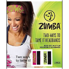 "ZUMBA ""TWO WAYS TO TAME IT"" Headbands 2pack~Reversible Chic Rare~A great Gift!"