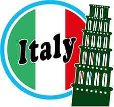 """Pizza Tower Italy Europe Travel Flag Car Bumper Sticker Decal 5"""" x 5"""""""