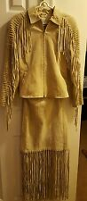 Western wear Suede leather jacket and skirt set  woman's size 4, biker lady wear