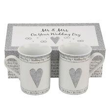 Mr & Mrs Wedding Gift Present Idea Gift Boxed Porcelain Mug Set Great Gift Ideas