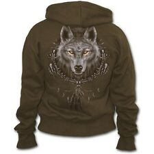 Wolf Dreams Brown Hood with Full Zip and Side Pockets by Spiral Direct UK 16