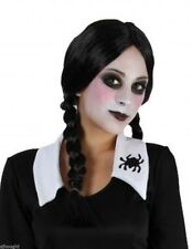 Ladies Teen's Black Plait Plaited Wig Addams Family Wednesday Halloween Horror
