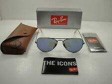 RAY-BAN AVIATOR SUNGLASSES RB3025 167/68 BRONZE-COPPER/BLUE MIRROR LENS 58MM