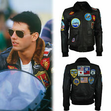 Tom Cruise Top Gun Bomber Jacket with Patches 100% New Genuine Leather