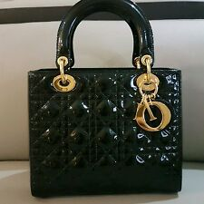 Lady Dior Black Patent Leather & Gold Hardware*Medium*
