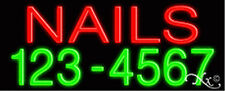 """NEW """"NAILS"""" 32x13x3 W/YOUR PHONE NUMBER REAL NEON SIGN w/CUSTOM OPTIONS 10364"""
