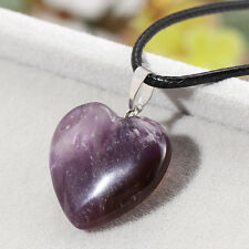 Healing Point Chakra Heart Natural Stone Quartz Crystal Leather Pendant Necklace