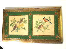 Vintage Florentia Italian Style Florentine Gilt Toleware Birds Wall Plaque ITALY