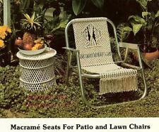 PATIO LAWN CHAIR & TABLE~Vtg Pattern Book~CAFE CURTAIN~PLANT HANGER~More Macrame