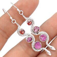 Snake - Pink Tourmaline Rough & Garnet 925 Silver Earrings Jewelry SE116225