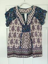 Rebecca Taylor Purple Floral Printed Top With Ruffle Sleeve Size 4