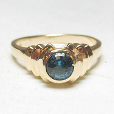 Estate $1800 14K Yellow Gold 0.65 Ct Natural Round Blue Zircon Solitaire Ring