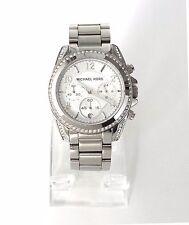 Michael Kors Damen Uhr Chronograph Datum silber weiß Edelstahl Steine MK5165