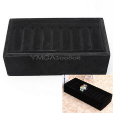 1 pc Bracelet Bangle Watch Jewelry Black Velvet Display Tray Storage Box Case
