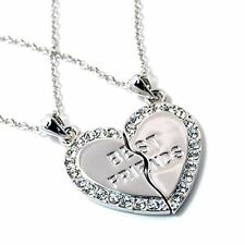 NEW BEST FRIEND Heart Silver Tone Rhinestone 2 Pendants Necklace BFF Friendship