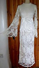 VINTAGE 60S 70S ANGEL SLEEVED CROCHET MAXI DRESS UK 8 WEDDING BOHO FESTIVAL