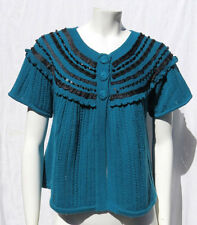 Nanette Lepore 100% Merino Wool Knit Beaded Sweater Cardigan Top size S M