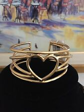 NWT $188 philippe audibert gold wire heart cuff bracelet LOVE Great GIFT RARE