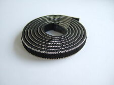 1 Meter 10mm Black Flat Faux Suede Leather Cord With Silver Chain Border
