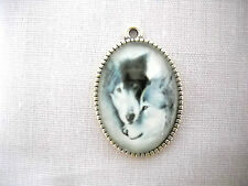 2 PACK WOLVES IN LOVE WHITE & GRAY WOLF GLASS CABOCHON OVAL PENDANT NECKLACE