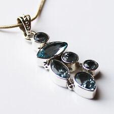 925 Sterling Silver Semi-Precious Natural Stone Pendant - Blue Topaz