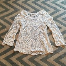 New Anthropologie Women's White Eyelet Crochet Lace Boho Blouse Top - Small