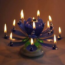Blue Spinning Musical Lotus Happy Birthday Candle Flower Cake Topper From USA!