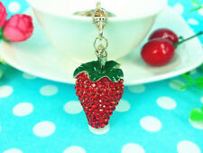 KC062 N Strawberry Keyring Rhinestone Crystal Charm Pendant Key Bag Chain Gift