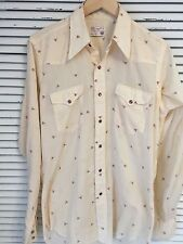 Vintage 60's Wrangler Western Long Tails Perm Press Rose Pattern Shirt USA Med