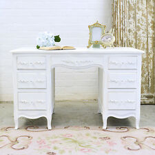 Shabby Cottage Chic 7 Drawer French Vintage Writing Desk Office White Rose