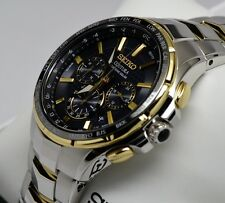 New Seiko SSG010 Coutura Radio Sync Solar Chronograph Two Tone Men's Watch