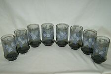8 Libbey Smoke Color Fern Leaf Bamboo Tumblers Water 12 Ounce Glasses