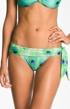 NWT $96 ViX Paula Hermanny 'Paraty' Peacock Side Tie Bikini Bottom Full Sz Large