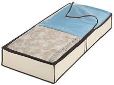 WIDE Cream Fabric Storage Box Container with Window UNDER BED ORGANIZER LARGE