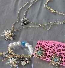 Betsey Johnson Fashion Jewelry snowflake necklace bracelet earrings set