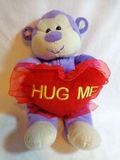 """Kuddle Me Toys Purple Monkey 12"""" Plush Hug Me Heart Pillow Valentine"""