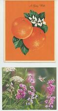 VINTAGE ORANGE CAKE SAUCE RECIPE BIRTHDAY ART PRINT 1 LANG SWEET PEA FLOWER CARD