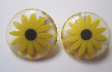 Large Clip Earrings Lucite Black Eye Susan Daisy SunFlower 3 Dimensional-Vintage