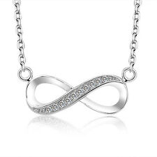 INFINITY LOVE .925 STERLING SILVER CZ STONE PENDANT NECKLACE CHAIN GIFT SS2063