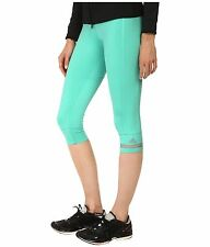 adidas by Stella McCartney Womens 3/4 Tights S02970~Shimmer Green~Turquoise~Sz L